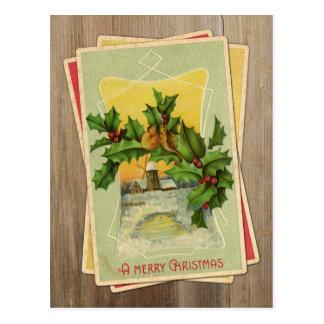 Vintage Weihnachtsvögel w/Holly u. Windmühle auf Postkarte