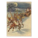 Vintage Weihnachtsweihnachtsmann-Rensleigh-Spielwa Grußkarten