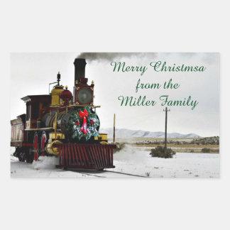 Vintage Weihnachtszug-Rechteck-Aufkleber, glatt Rechteckiger Aufkleber