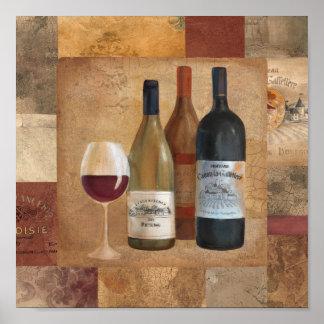 Vintage Wein-Flaschen und Wein-Glas Poster
