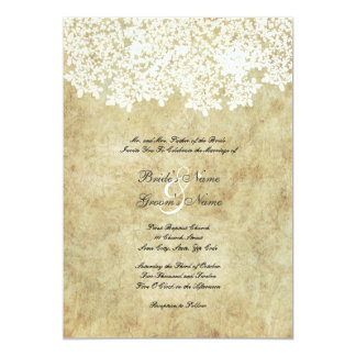 Vintage weiße Blumenhochzeits-Einladungen Karte