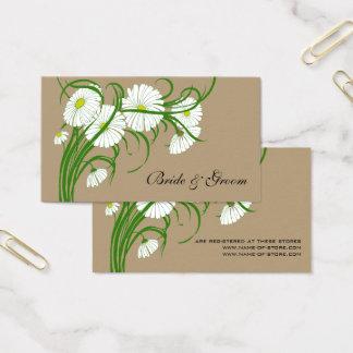 Vintage weiße Gerber Gänseblümchen-Blumen, die Set Visitenkarte