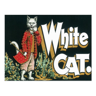 Vintage weiße Katzen-Zigarren-Aufkleber-Kunst Postkarte
