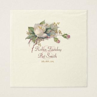 Vintage weiße u. rosa Watercolor-Rosen-große Papierserviette