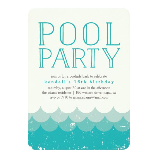 Vintage Wellen-Pool-Party Einladung | Zazzle