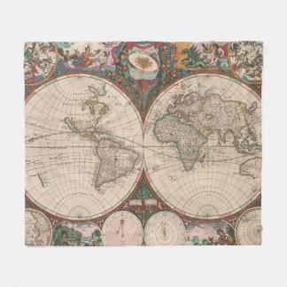 Vintage Weltkarte (1665) 2 Fleecedecke