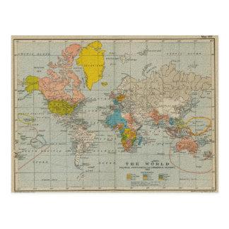 Vintage Weltkarte 1910 Postkarten