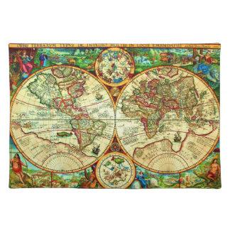 Vintage Weltkarten-Platzierung 1594 Tischsets