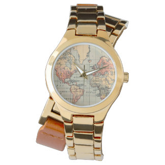 Vintage Weltkarten-Verpackungs-Uhr Armbanduhr