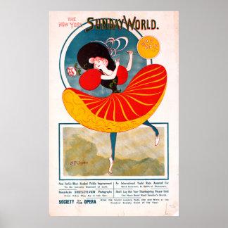 Vintage Weltopern-Tanzen-Anzeige New York Sonntag Poster