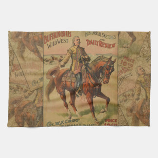 Vintage Western-Büffel-Bill-Grafik-Illustration Geschirrtuch