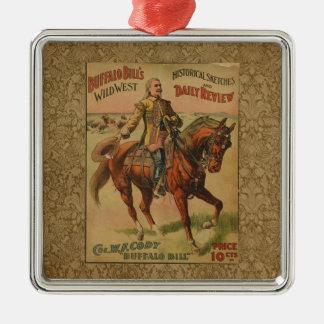 Vintage Western-Büffel-Bill-Grafik-Illustration Silbernes Ornament