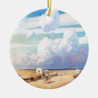 Vintage Western-Cowboys, Planwägen durch Wyeth Keramik Ornament