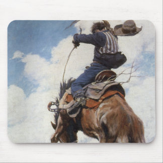 Vintage Western-Cowboys, sträubend durch NC Wyeth Mousepad