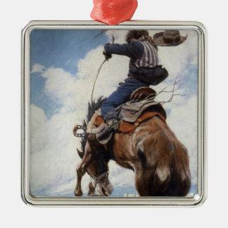 Vintage Western-Cowboys, sträubend durch NC Wyeth Silbernes Ornament