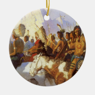 Vintage Western-Kunst, indisches Kriegs-Party Keramik Ornament