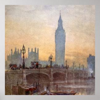 Vintage Westminster-Brücke Big Ben London England Poster