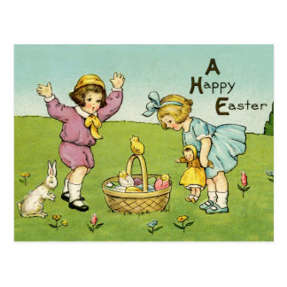 Vintage Wiedergabe-Ostern-Postkarte Postkarte