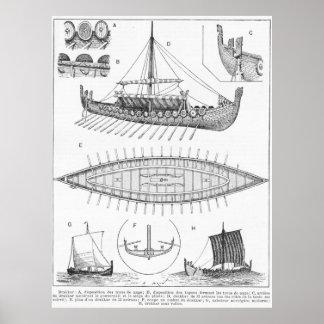 Vintage Wikingermarineschiffs-Geschichte und Poster
