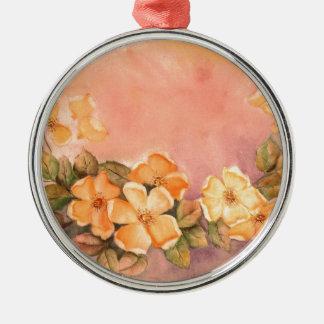 Vintage wilde Rosen-erstklassige runde Verzierung Rundes Silberfarbenes Ornament