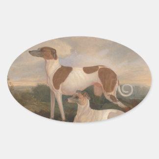 Vintage Windhunde Ovaler Aufkleber