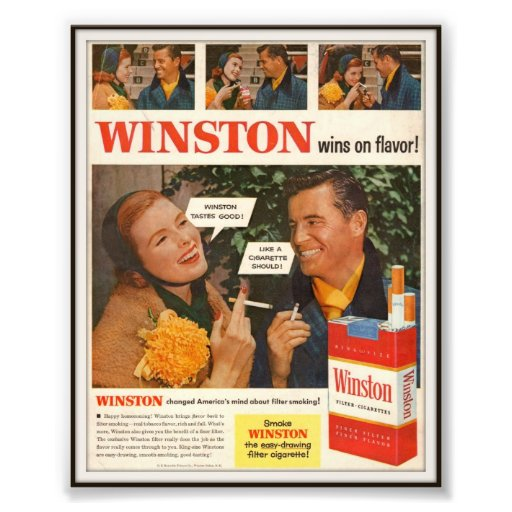 Vintage Winston Zigaretten-Werbung 1955 Kunstphotos