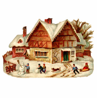 Vintage Winter-Dorf-Weihnachtsverzierung Acrylausschnitt
