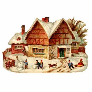 Vintage Winter-Dorf-Weihnachtsverzierung Fotoskulptur Ornament