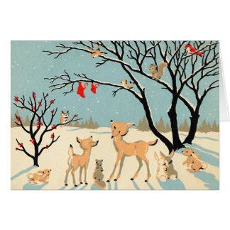 Vintage Winter-Märchenland-Weihnachtskarte Karte