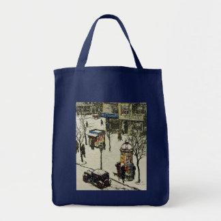 Vintage Winter-Stadt-Straßen-Szene Einkaufstasche