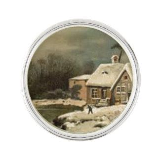 Vintage Winter-Szene Anstecknadel