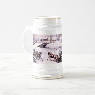 Vintage Winter-Szene. Weihnachtsgeschenk-Tasse Bierglas