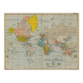 Vintage World Map 1910 Postcards