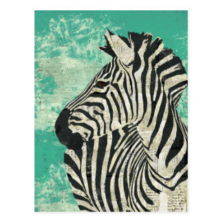 Vintage Zebra-Türkis-Postkarte Postkarte