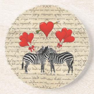 Vintage Zebras und Herz Untersetzer