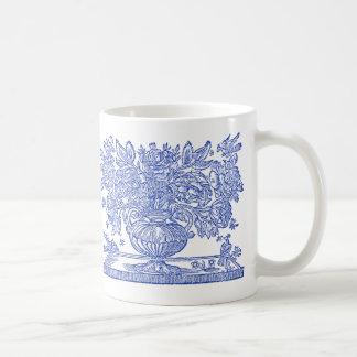 Vintage zeichnende kennzeichnenblumengreife kaffeetasse