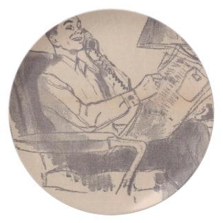 Vintage Zeitungs-Vati-Melamin-Platte Teller