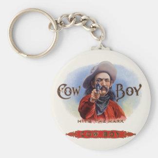 Vintage Zigarren-Aufkleber-Kunst, Cowboy schlägt Schlüsselanhänger
