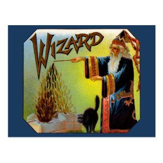 Vintage Zigarren-Aufkleber-Kunst-magische Tat, Postkarte