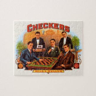 Vintage Zigarren-Aufkleber-Kunst, Schachbrett mild Puzzle