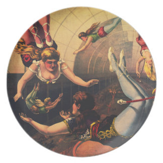 Vintage Zirkus-Akrobat-Platte Flacher Teller