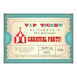 Vintage Zirkus-Karnevals-Geburtstags-Party-Karte Individuelle Ankündigungen