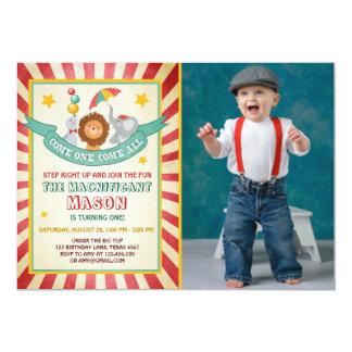 Vintage Zirkuskarnevals-Geburtstagseinladung Karte