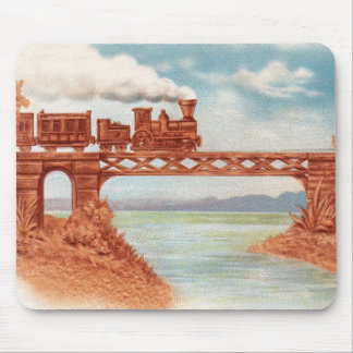 Vintage Zug-Lokomotivfrühe Eisenbahn-Brücke Mousepad
