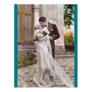 Vintage Zwanzigerjahre Braut und Postkarte