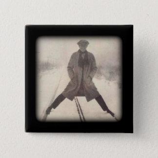 Vintage Zwanzigerjahre des Eisenbahn-Fotos c Quadratischer Button 5,1 Cm