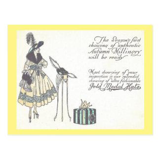 Vintage Zwanzigerjahre Hut-Modewaren-Show-Anzeige Postkarte