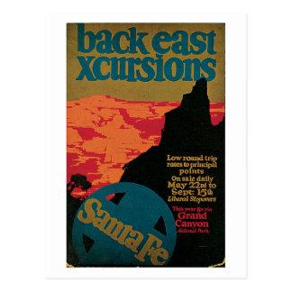 Vintage Zwanzigerjahre Santa- Fereiseanzeige Postkarte