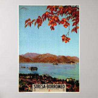 Vintage Zwanzigerjahre See Maggiore Stresa Poster