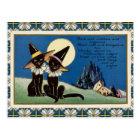Vintage zwei schwarze Katzen Halloween Postkarte